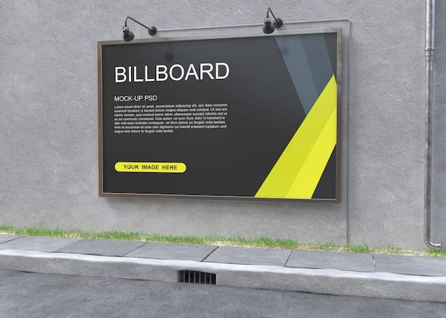 Maqueta de cartelera en pared gris PSD Premium