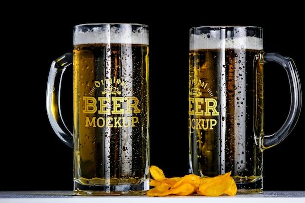 Maqueta de cerveza PSD gratuito