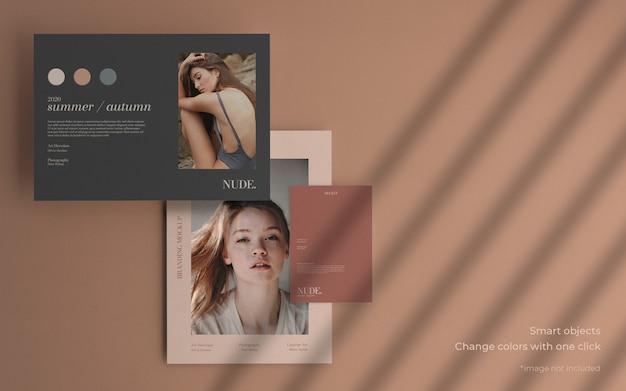 Maqueta de colección de folletos mínima con sombra suave PSD gratuito