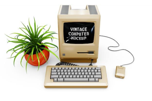 Maqueta de la computadora de la vendimia aislado PSD gratuito