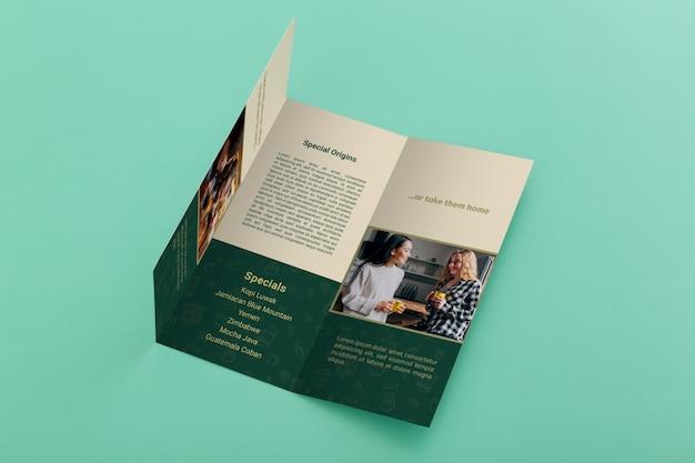 Maqueta de concepto de folleto tríptico PSD Premium