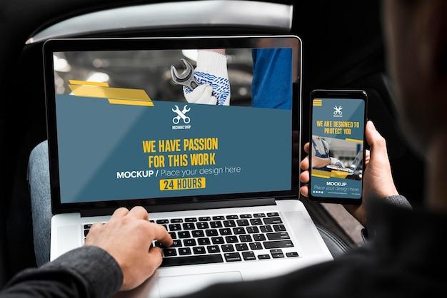 Maqueta de concepto de pantalla en blanco PSD Premium