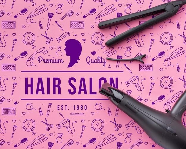 Maqueta de concepto de peluquería PSD gratuito