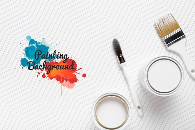 Maqueta de concepto de pintura colorida PSD gratuito