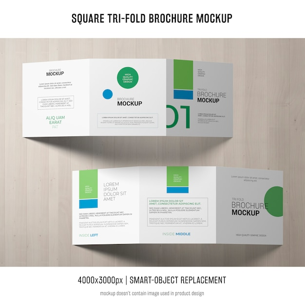 Maqueta cuadrada de folleto tríptico PSD gratuito