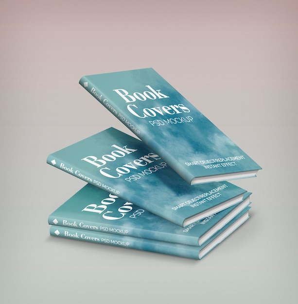 Maqueta de cuatro libros PSD gratuito