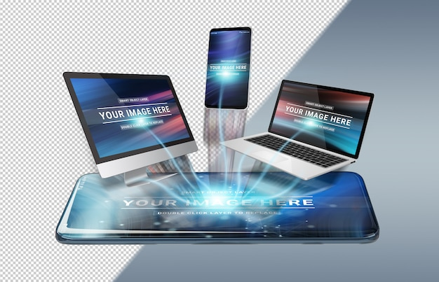 Maqueta de dispositivos conectados flotantes PSD Premium