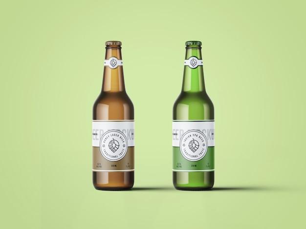 Maqueta de dos botellas de cerveza PSD Premium