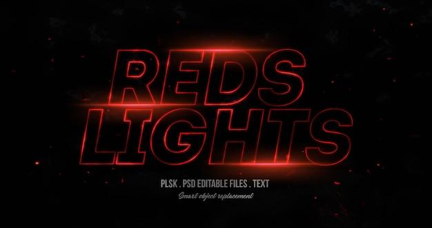 Maqueta de efecto de estilo de texto en 3d de luces rojas PSD Premium