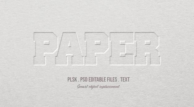 Maqueta de efecto de estilo de texto 3d de papel PSD Premium