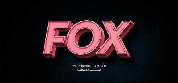 Maqueta de efecto de estilo de texto fox 3d PSD Premium