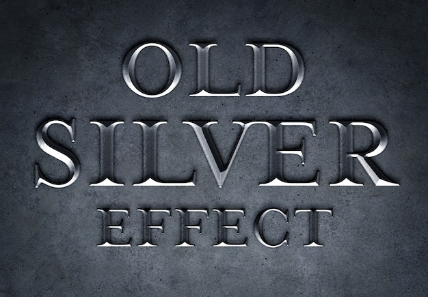 Maqueta de efecto de texto de plata vieja PSD Premium