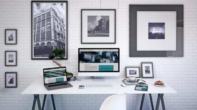 Maqueta de espacio de trabajo con ordenador PSD gratuito