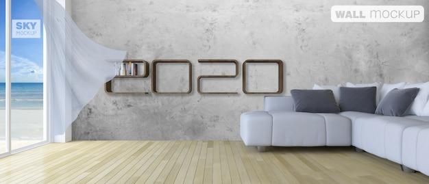 Maqueta de estante de renderizado 3d en la sala de estar PSD Premium
