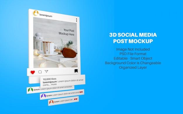 Maqueta de estilo 3d para publicación en redes sociales de instagram PSD Premium