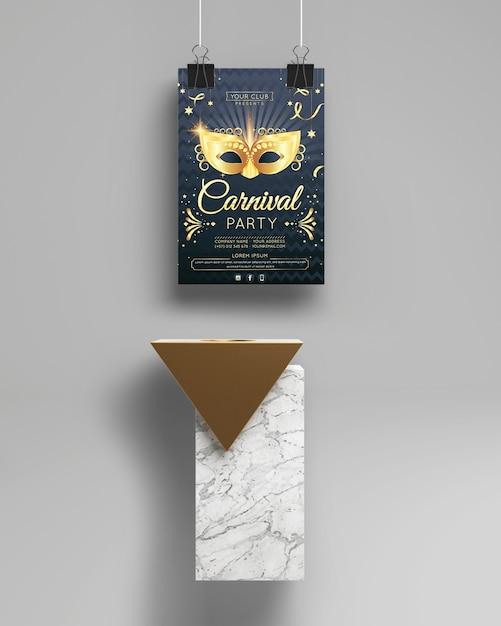 Maqueta de fiesta de carnaval y objeto minimalista abstracto PSD gratuito