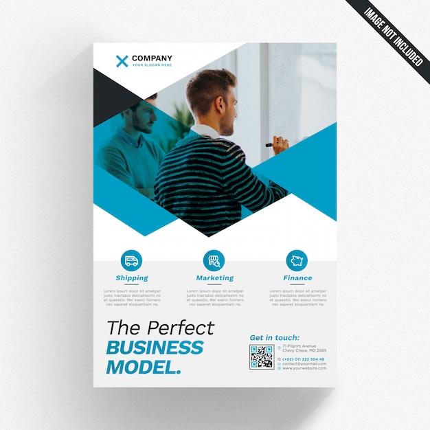 Maqueta de folleto comercial geométrico PSD Premium