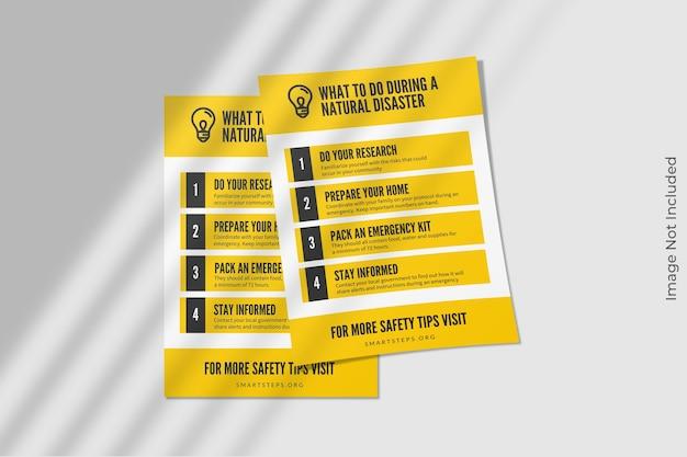 Maqueta de folleto flyer a4 con sombra PSD Premium