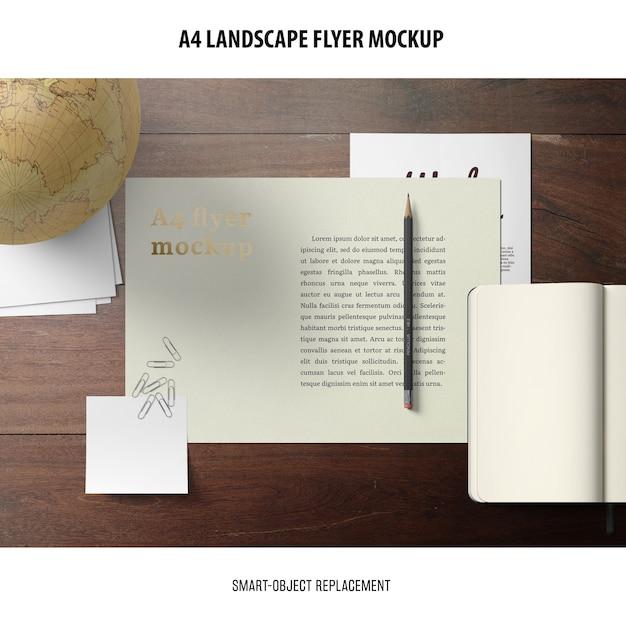 Maqueta de folleto de paisaje a4 PSD gratuito