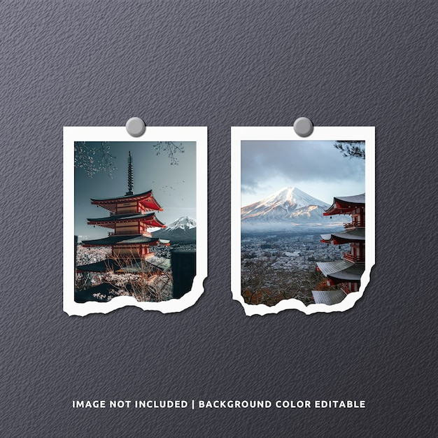 Maqueta de foto de marco de papel rasgado de retrato gemelo PSD Premium
