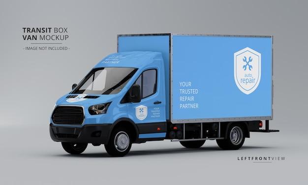 Maqueta de furgoneta de caja de tránsito desde la vista frontal izquierda PSD Premium