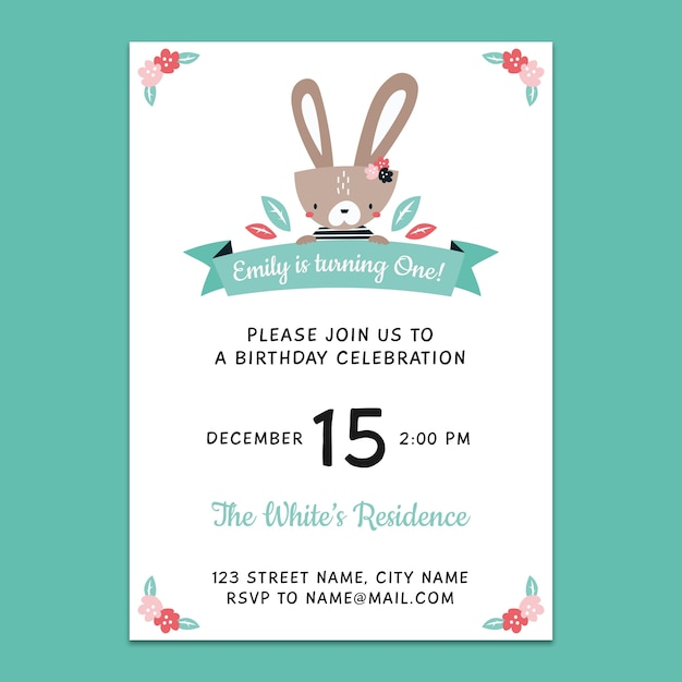 Maqueta de invitación para el 1º cumpleaños PSD gratuito