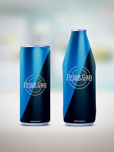 Maqueta de lata de bebida y botella de aluminio PSD Premium
