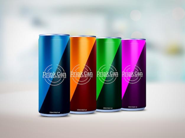 Maqueta de latas de aluminio PSD Premium