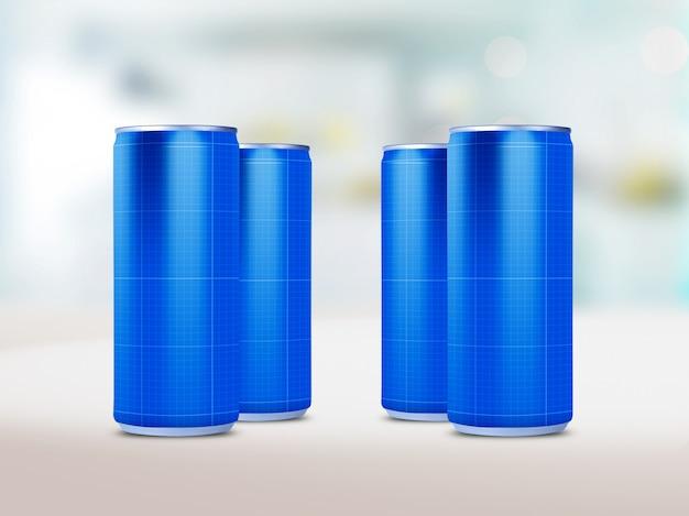 Maqueta de latas de bebida PSD Premium