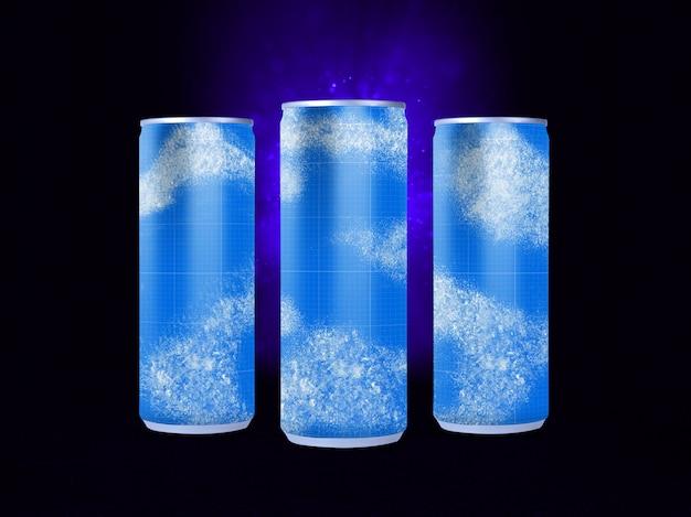 Maqueta de latas de bebidas frías PSD Premium