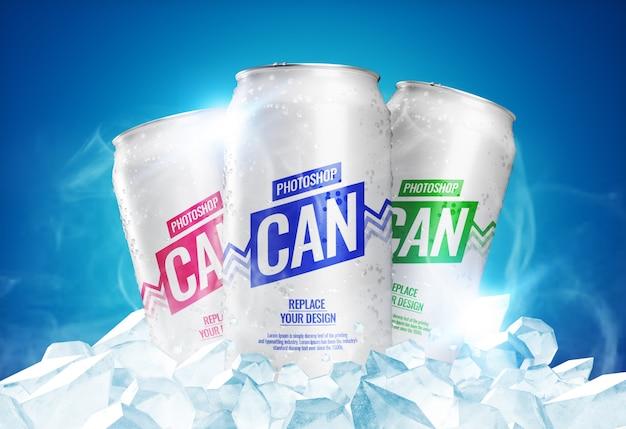 Maqueta de latas de refresco con cubitos de hielo PSD Premium