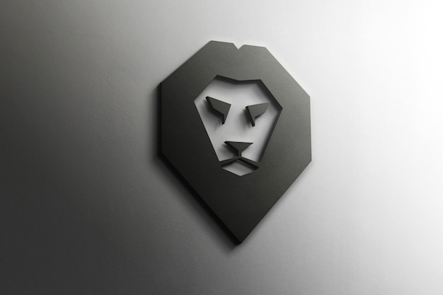 Maqueta del logotipo de 3d lion PSD gratuito