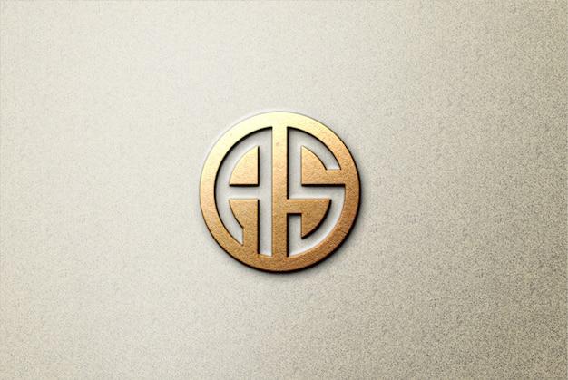 Maqueta de logotipo 3d de papel marrón sobre hormigón PSD Premium