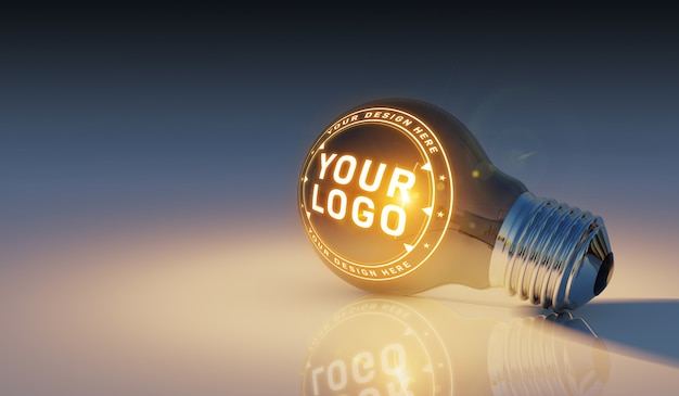 Una maqueta de logotipo de una bombilla brillante tendido en el suelo PSD Premium
