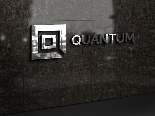 Maqueta de logotipo de pared 3d PSD Premium