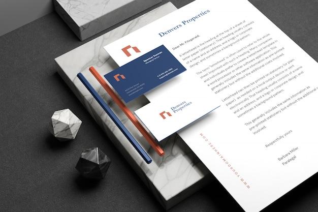 Maqueta de marca de papelería mínima PSD Premium