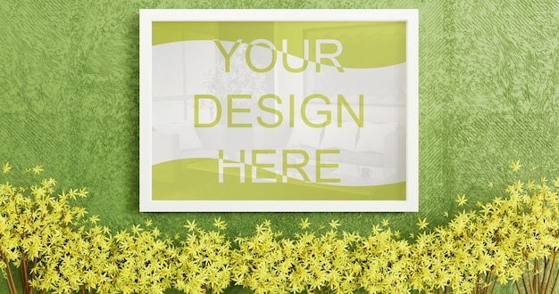 Maqueta de marco blanco vertical en pared verde césped artificial PSD Premium