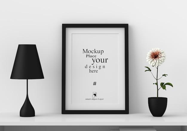 Maqueta marco de fotos en blanco en la moderna sala de estar PSD Premium