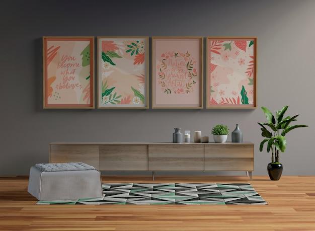 Maqueta de marcos colgando en la sala de estar PSD gratuito