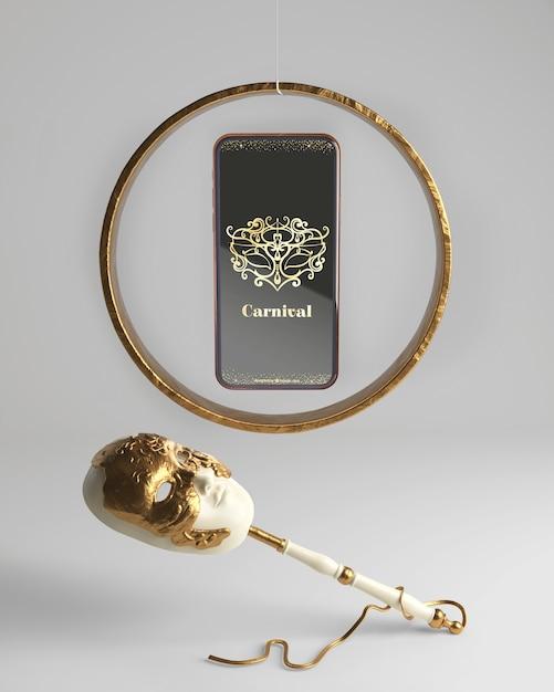 Maqueta y máscara de la aplicación de carnaval para teléfonos móviles PSD gratuito