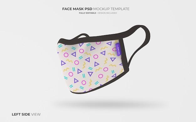 Maqueta de mascarilla en vista lateral izquierda PSD gratuito