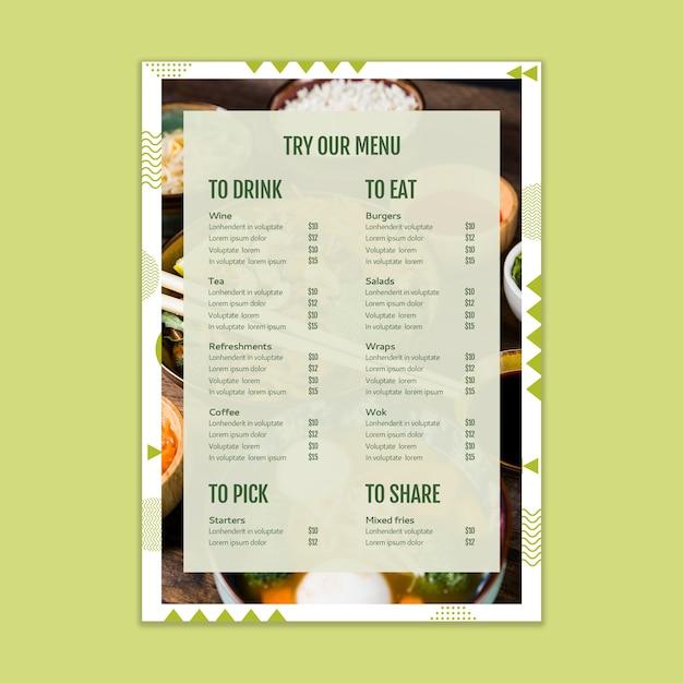 Maqueta de menú PSD gratuito