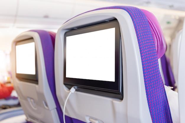 Maqueta del monitor de avión en cabina en el interior del plano del asiento del pasajero PSD Premium