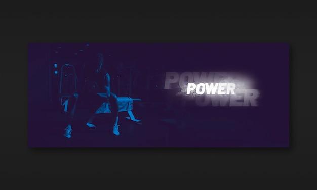 Maqueta oscura de banner de fitness PSD gratuito