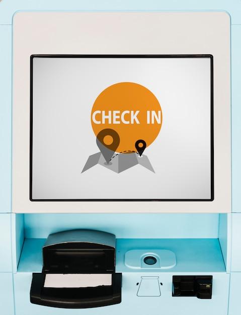 Maqueta de pantalla de quiosco de check-in de vuelo azul PSD gratuito