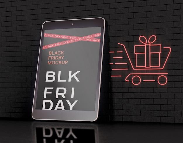Maqueta de pantalla de tableta. concepto de viernes negro PSD gratuito