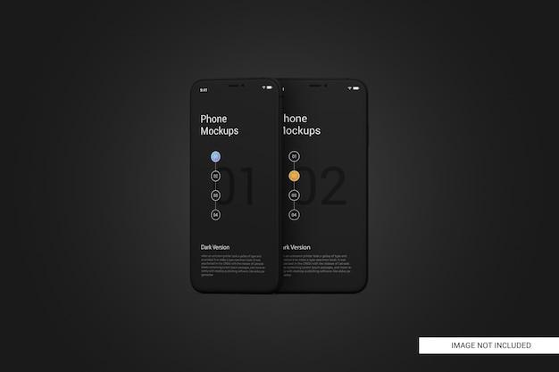 Maqueta de pantalla de teléfono móvil negro PSD Premium