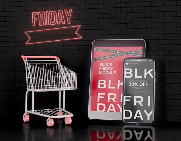 Maqueta de pantallas de teléfonos inteligentes y tabletas digitales. concepto de viernes negro PSD gratuito