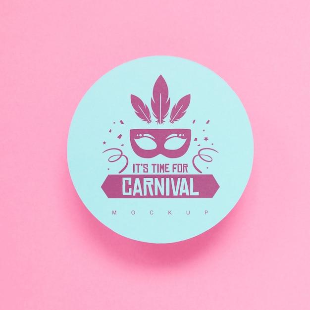 Maqueta de papel redondo con concepto de carnaval PSD gratuito