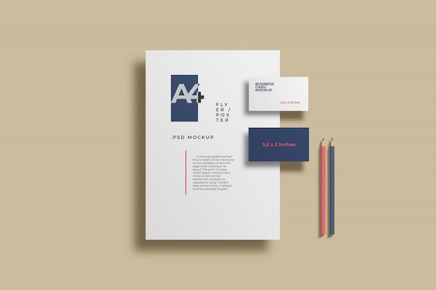 Maqueta de papelería minimalista PSD gratuito